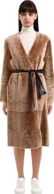 Reversible Shearling Coat W Belt