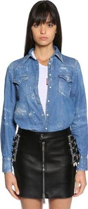 Distressed Cotton Denim Western Shirt