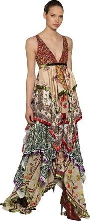 Embellished Printed Silk Chiffon Gown
