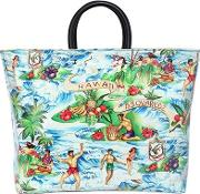 Hawaii Printed Canvas & Pvc Tote Bag