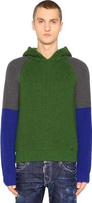 Hooded Color Block Wool Rib Knit Sweater