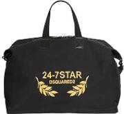 Logo Embroidered Canvas Duffle Bag