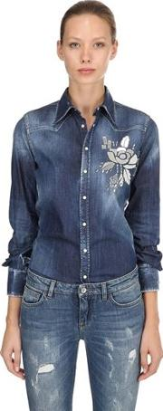 Mirror Embellished Cotton Denim Shirt