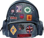 Patches Faded Cotton Denim Backpacks