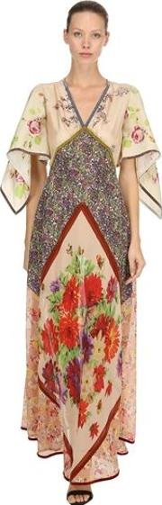 Printed Chiffon Embroidered Gown