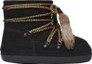 Suede Snow Ankle Boots W Fur Tassels