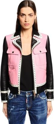 Two Tone Studded Leather Biker Jacket