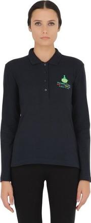 Long Sleeved Stretch Cotton Pique Polo