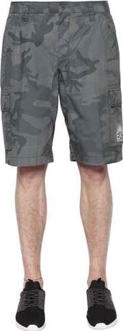 Camouflage Printed Cotton Cargo Shorts