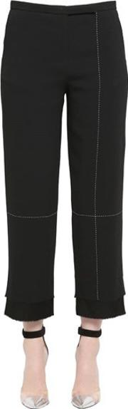 Double Layer Cropped Pique Pants