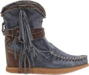 70mm Arya Fringed Suede Wedge Boots