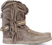 70mm Arya Suede Fringed Wedge Boots