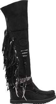 70mm Delilah Fringed Leather Wedge Boots