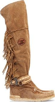 70mm Delilah Fringed Suede Wedge Boots