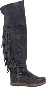 70mm Delilah Fringed Suede Wedged Boots