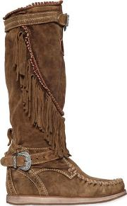 70mm Fringed Suede Wedge Boots