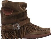 70mm Lena Fringed Suede Wedged Boots