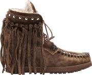 70mm May Fringed Suede Wedged Boots