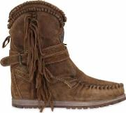 70mm Sansa Fringed Suede Wedge Boots