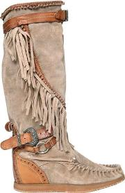 70mm Silverstone Fringed Wedged Boots