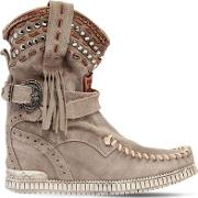 70mm Yara Studded Suede Wedge Boots