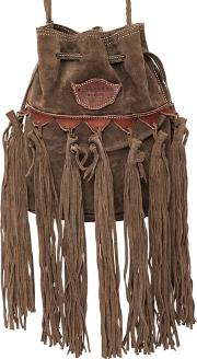 Sachet Fringed Suede Shoulder Bag