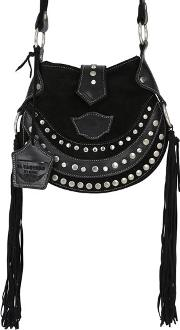 Texi Studded Fringed Suede Shoulder Bag