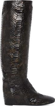 50mm Python Embossed Faux Leather Boots