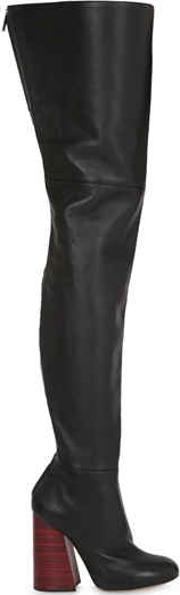100mm Leather Over The Knee Boots