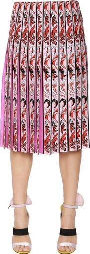 Printed Pleated Silk Twill Skirt