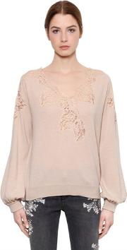 Floral Lace & Wool Blend Knit Sweater