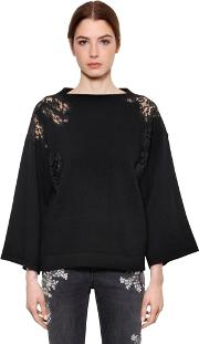 Lace & Wool Blend Boat Neck Sweater
