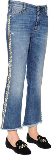 Boot Cut Embroidered Stretch Denim Jeans