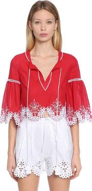 Embroidered Cotton Muslin Cropped Blouse