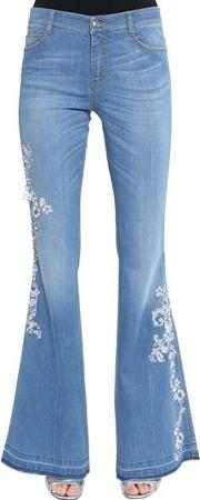 Flared Lace Embroidered Denim Jeans