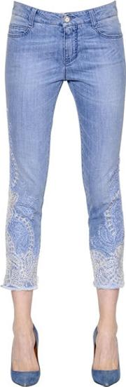 Lace Embroidered Stretch Denim Jeans