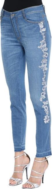 Skinny Lace Embroidered Denim Jeans
