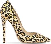 115mm Leopard Printed Leather Pumps