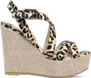 120mm Snake Printed Leather Wedges