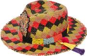 Checked Straw Hat W Beaded Hatband