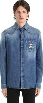 Frog Embroidered Cotton Denim Shirt