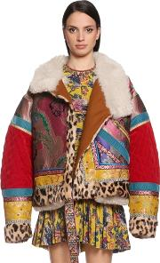 Oversized Patchwork Bomber Jacket