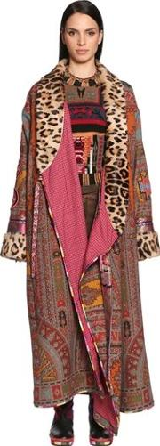 Printed Cool Wool Coat W Fur