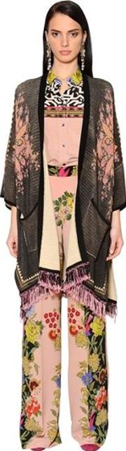 Printed & Fringed Cotton Knit Cardigan