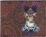Psychedelic Frog Fabric & Leather Wallet