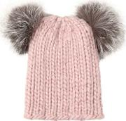 Mimi Wool Hat W Fox Pompoms