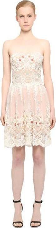 Embellished Strapless Lace Dress