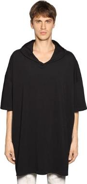 Oversize Hooded Cotton Jersey T Shirt
