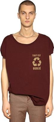 Recycle Printed Cotton Jersey T Shirt