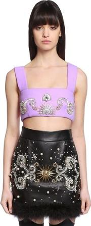 Embellished Wool Crepe Crop Top